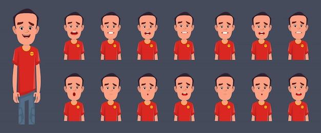 Jungencharakter mit verschiedenen gefühlen und ausdrücken für animation und bewegung