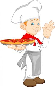 Jungenchefkarikatur, die pizza hält