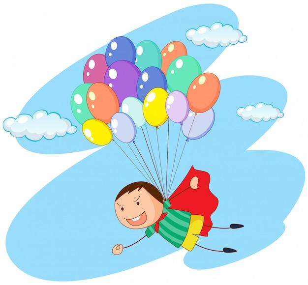 Jungenfliegen mit ballonen im himmel