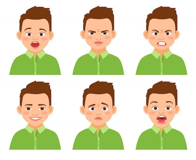 Jungengesichtsausdruck-vektorsatz. überraschtes und trauriges, lustiges und verletztes karikaturkind lokalisiert