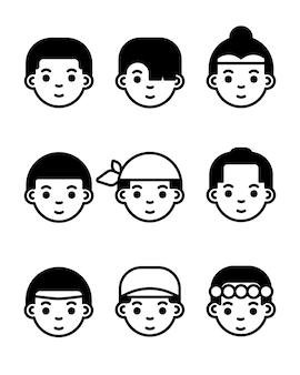 Jungenikonen eingestellt. flaches liniensymbol. avatar-symbole.