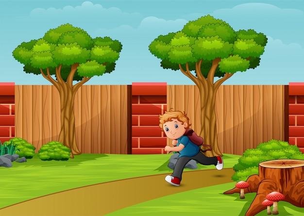 Jungenkarikatur, die in die park city läuft
