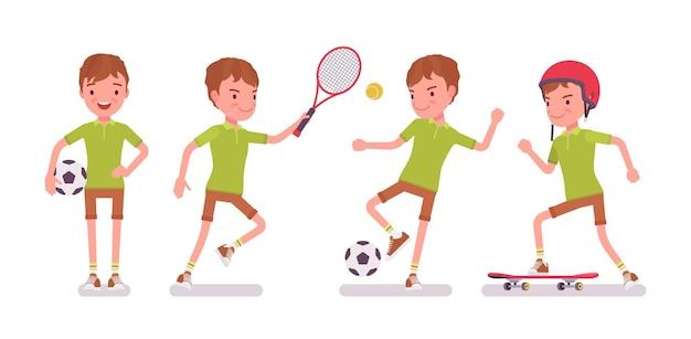 Jungenkind 7-9 jahre alt, männliche kindersportaktivität im schulpflichtigen alter