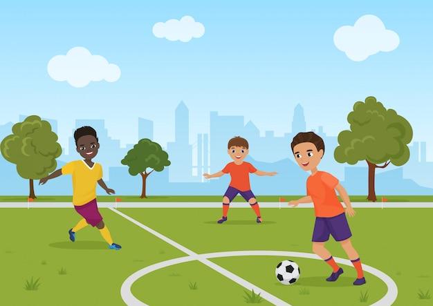 Jungenkinder, die fußballfußball spielen. illustration.