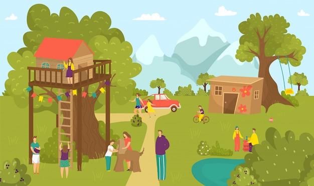 Jungenmädchenkinderaktivität am sommerbaumhaus, glückliche kindheit an naturparkillustration. leute an der hauslandschaft, lustige kinder nahe gartenholzhaus. auf schaukel spielen, bauen.