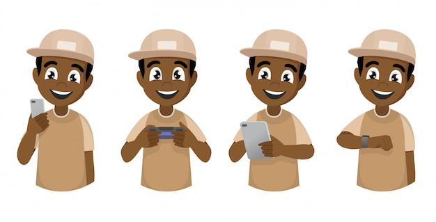 Junger afrikanischer junge der karikatur benutzt verschiedene geräte.