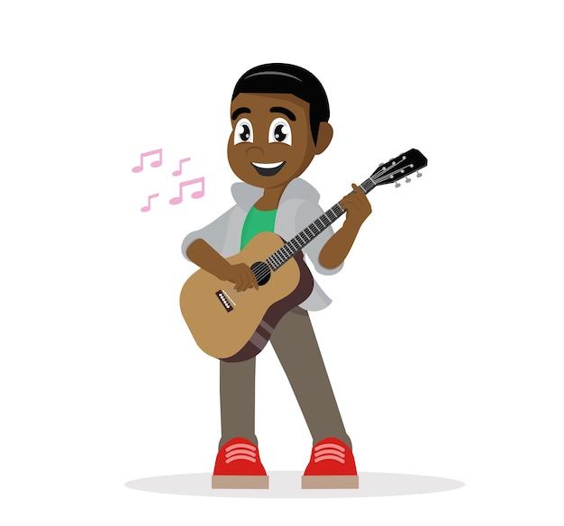 Junger afrikanischer mann, der gitarre spielt.