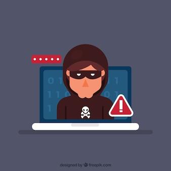 Junger anonymer hacker mit flachem design