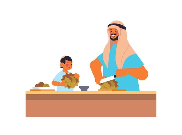 Junger arabischer vater und kleiner sohn, die gesundes gemüsesalat-elternschaft-vaterschaftskonzeptvater vorbereiten, der zeit mit seiner horizontalen vektorillustration des kinderporträts verbringt