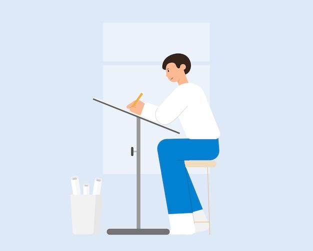 Junger architekt, der an seinem projekt am zeichenbrett arbeitet. cartoon-illustration.