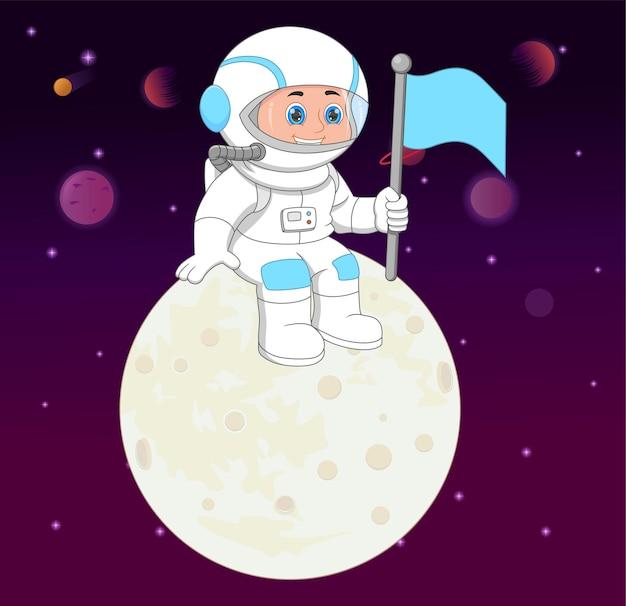 Junger astronaut auf dem mond und hält eine flagge