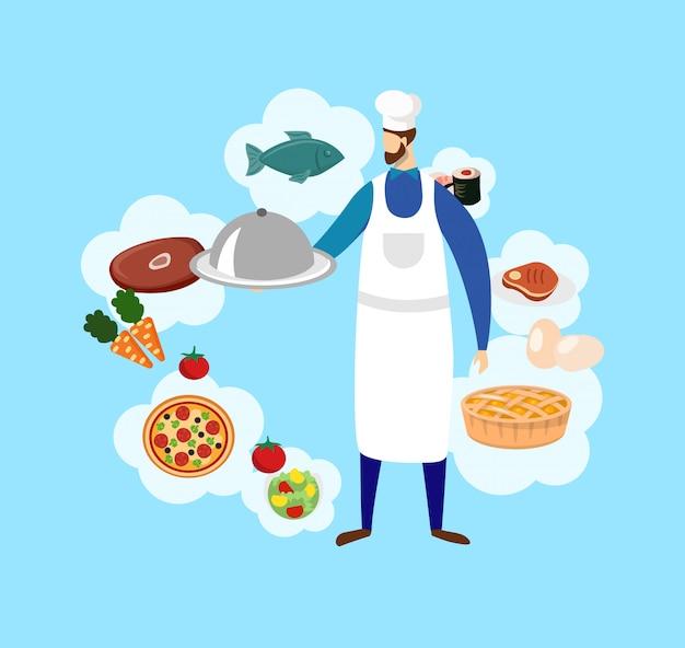 Junger bärtiger männlicher koch in hauben- und nahrungsmittelikonen.