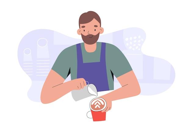 Junger barista-mann, der cappuccino-kaffee macht, der milchschaum gießt