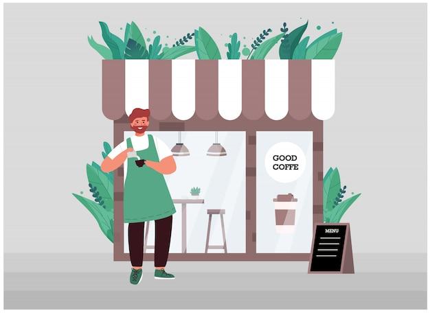 Junger barista mit bart in einer schürze, der besitzer eines kleinen geschäftscafés.