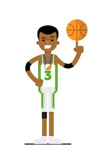 Junger basketball-spieler des schwarzen mannes mit ball
