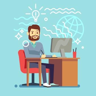 Junger designermann, der am computer arbeitet.