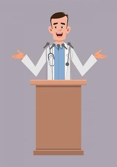Junger doktorsprecher steht hinter dem podium und spricht. flache cartoon-figur
