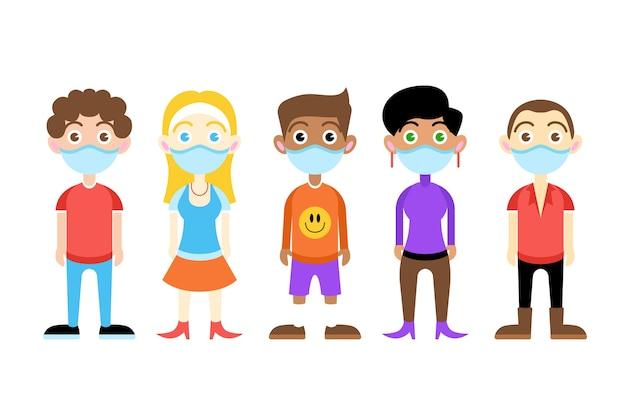 Junger erwachsener, der medizinische maske trägt