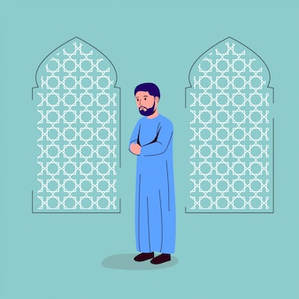 Junger erwachsener mann, der illustration betet