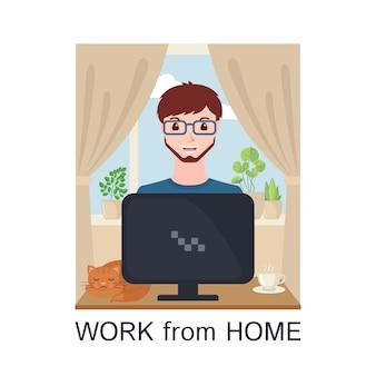 Junger erwachsener mann, der zu hause mit computer im flachen stil arbeitet.