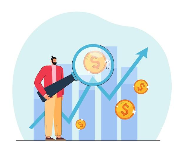Junger finanzier, der die flache illustration des marktes erforscht