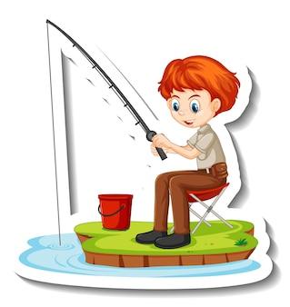 Junger fischer, der cartoon-charakter-aufkleber fischt