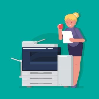 Junger geschäftsfrau-sekretär, der papier beim trinken des kaffees fotokopiert