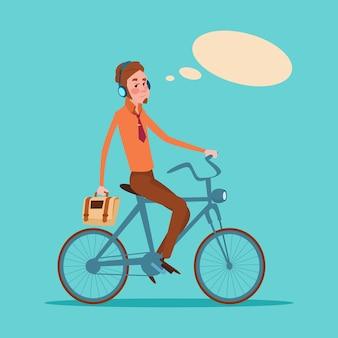 Junger geschäftsmann business manager ride bicycle