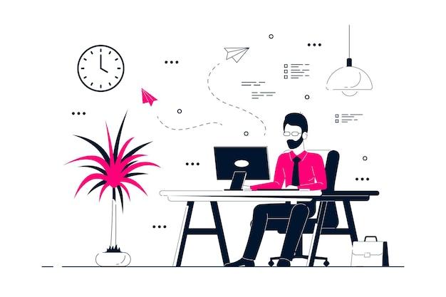 Junger geschäftsmann, der am computer am schreibtisch im büro arbeitet. flache art strichzeichnungen illustration