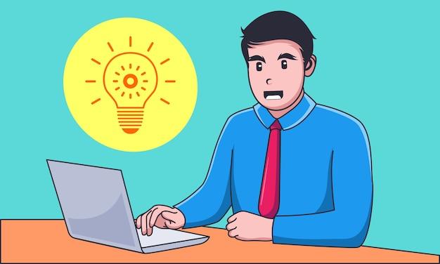 Junger geschäftsmann, der an laptop mit idee arbeitet