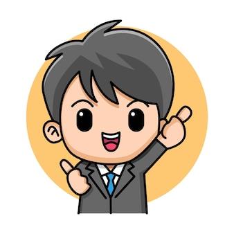 Junger geschäftsmann, der daumen oben zeichen mit beiden händen karikaturillustration macht