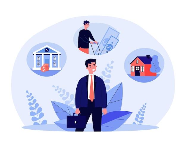 Junger geschäftsmann, der ein bankdarlehen aufnimmt und immobilien kauft. flache vektorillustration. karikaturmann, der an finanzen, wohnungsbau, kredite denkt. geschäft, bank, hypothek, haus, mietkonzept für design