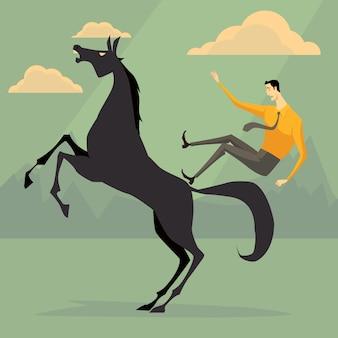 Junger geschäftsmann, der ein pferd skittish reitet