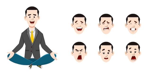 Junger geschäftsmann, der yoga tut oder meditation entspannt. geschäftsmann charakter mit unterschiedlichem gesichtsausdruck