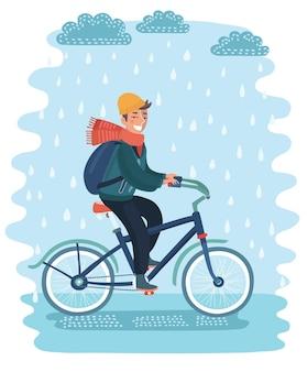 Junger geschäftsmann fährt fahrrad mit regenschirm