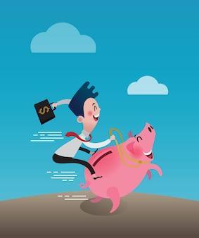 Junger geschäftsmann fahrt auf piggy