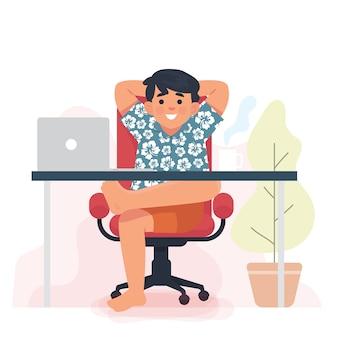 Junger geschäftsmann sitzen und entspannen arbeitet von zu hause aus