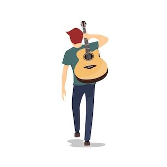 Junger gitarrist, der mit seiner gitarre auf seinem zurück geht