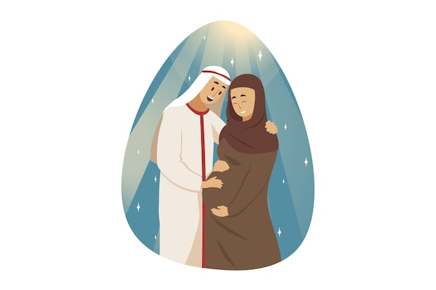 Junger glücklicher mann muslimischer freund ehemann stehend mit lächelnder schwangerer frau frau freundin araber