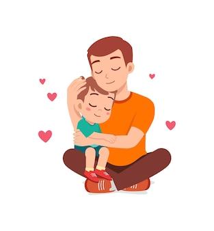 Junger glücklicher vater umarmt süßen kleinen jungen