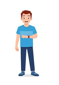 Junger gutaussehender mann mit guter armbanduhr Premium Vektoren