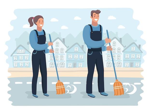 Junger hausmeister fegt den boden mit besen. professionelle reinigung