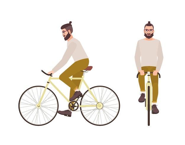 Junger hipster-mann oder männliche zeichentrickfigur mit trendiger frisur und bart, der fahrrad fährt. stilvoller kerl, der ein urbanes fahrrad isoliert auf weißer oberfläche fährt