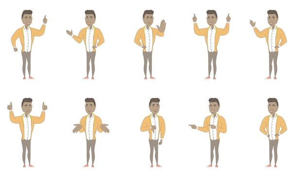 Junger hispanischer mannzeichensatz