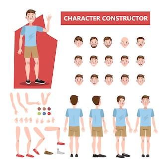 Junger hübscher mann-zeichensatz für animation mit verschiedenen ansichten, frisuren, emotionen, posen und gesten. illustration