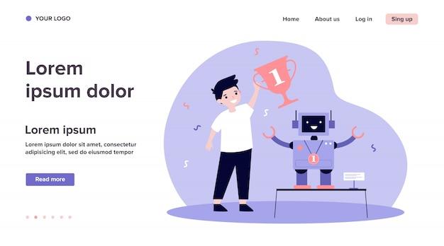 Junger ingenieur, der roboter macht und auszeichnung gewinnt