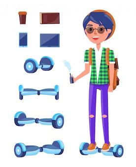 Junger jugendlicher mit gesetztem vektor roller hoverboard