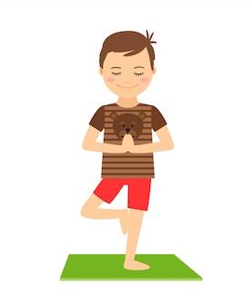 Junger junge, der in der yogahaltung getrennt steht. yoga scherzt vektorillustration