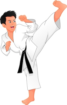 Junger junge, der karate spielt