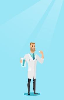 Junger kaukasischer doktor, der pillen einnimmt.